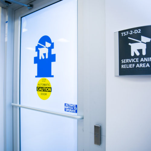 Service Animal Relief Area entrance